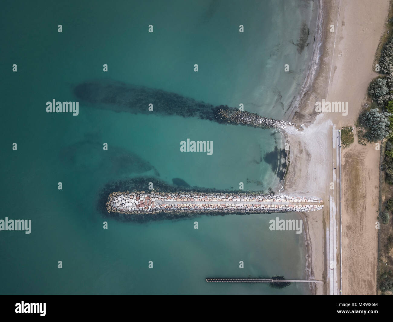 Drone photography of sea shore - Stock Image