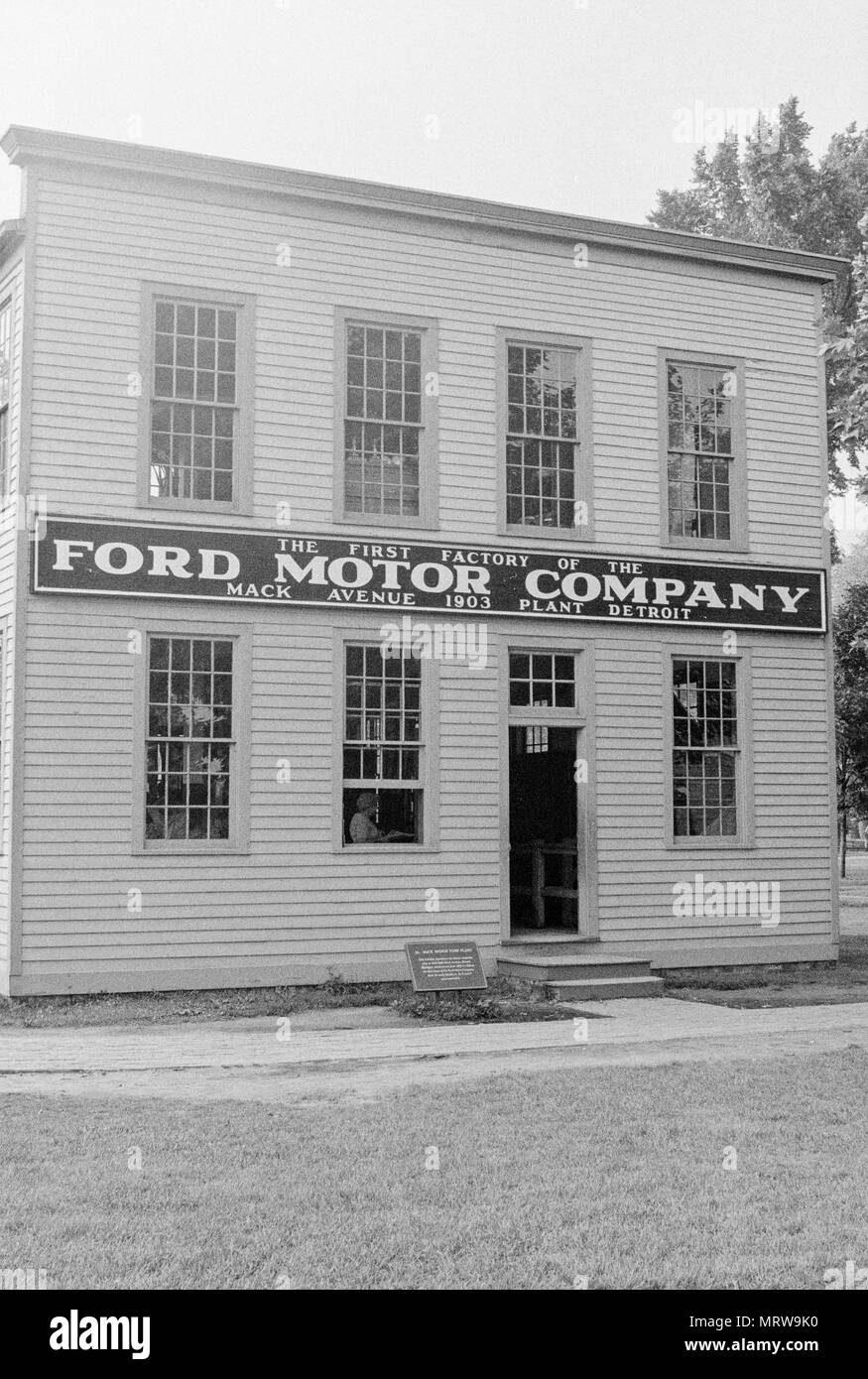A replica of the original Ford Motor Company Mack Avenue Plant, one-fourth the size of the original,  built in 1945 at Greenfield Village, an open-air museum in Dearborn, Michigan. Photographed in 1980. - Stock Image