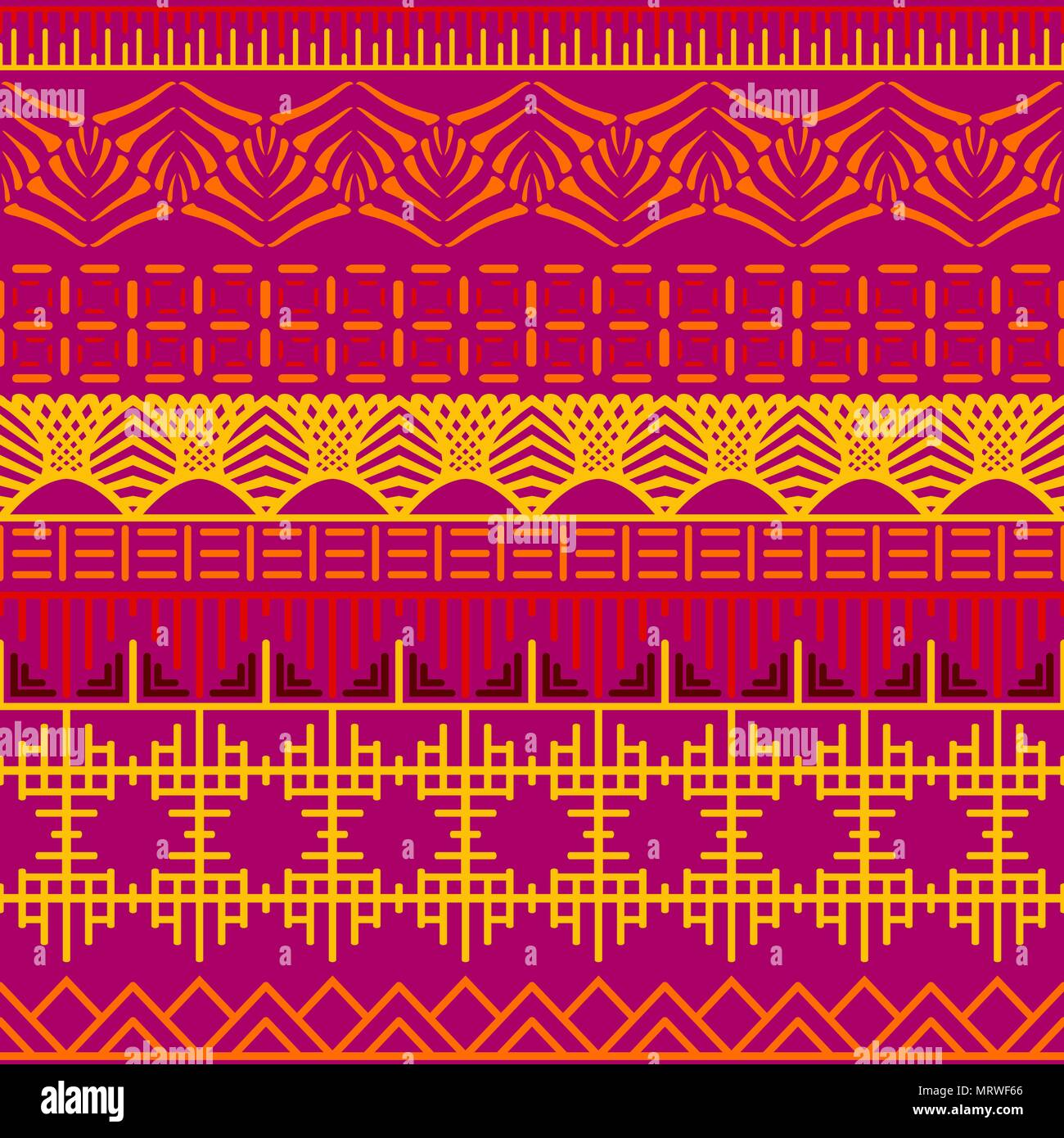 Tribal Ethnic Seamless Pattern Abstract Geometric Ornament With African MotifsVector Illustration Perfect For Textile Print Wallpaper Cloth Design