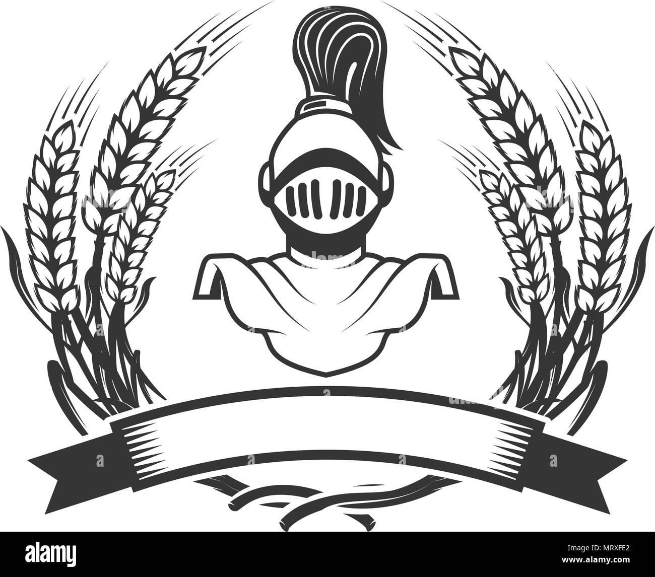 emblem template with medieval knight helmet design element for logo