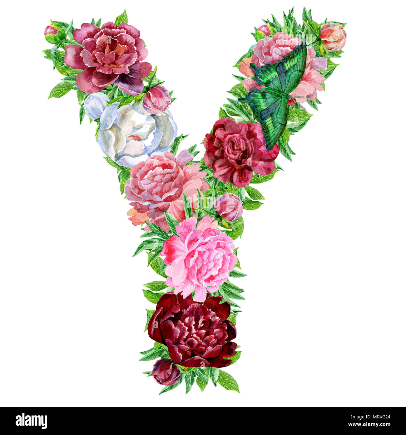 Letter Y Of Watercolor Flowers  Isolated Hand Drawn On A