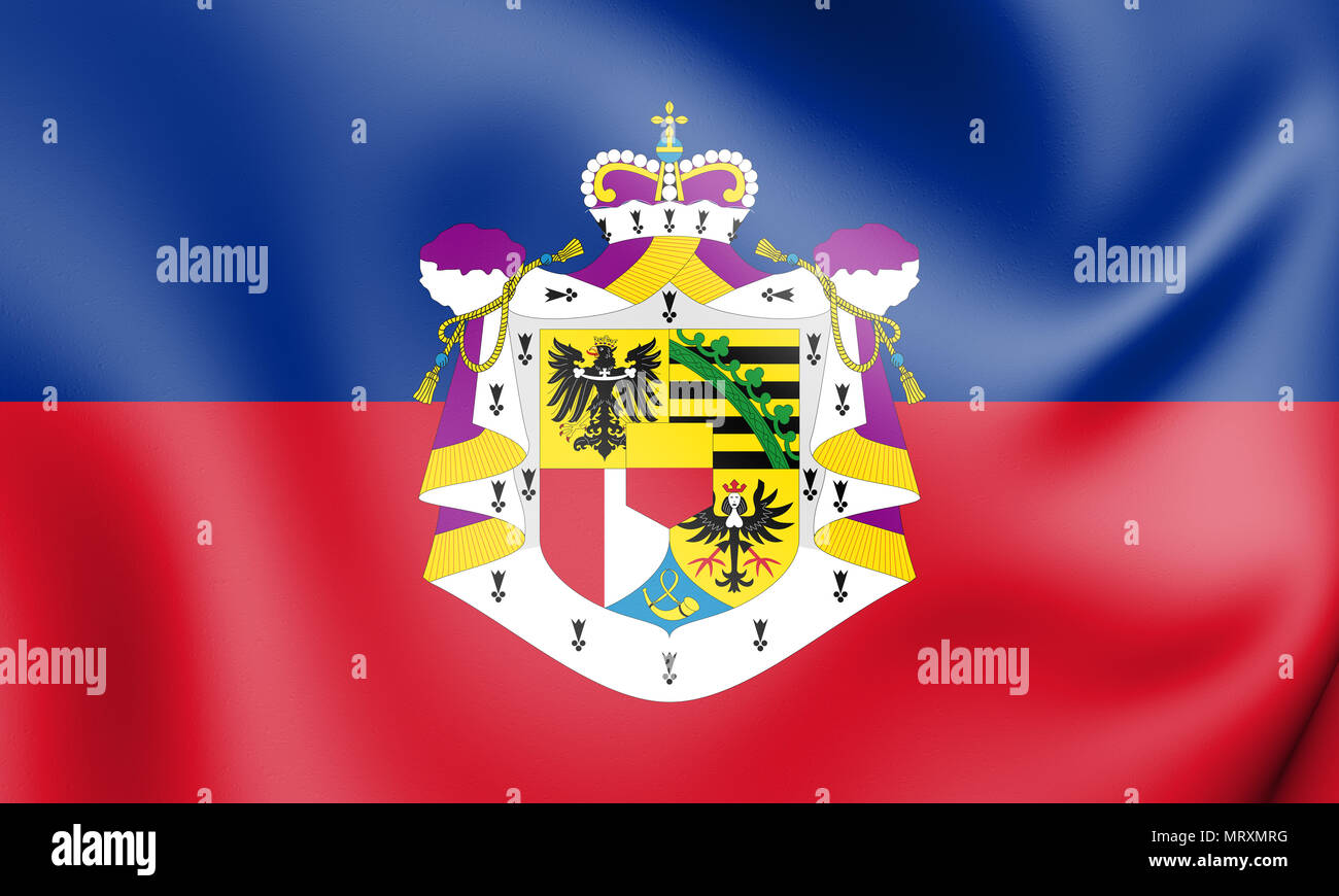 3D Flag of the Liechtenstein. 3D Illustration. Stock Photo