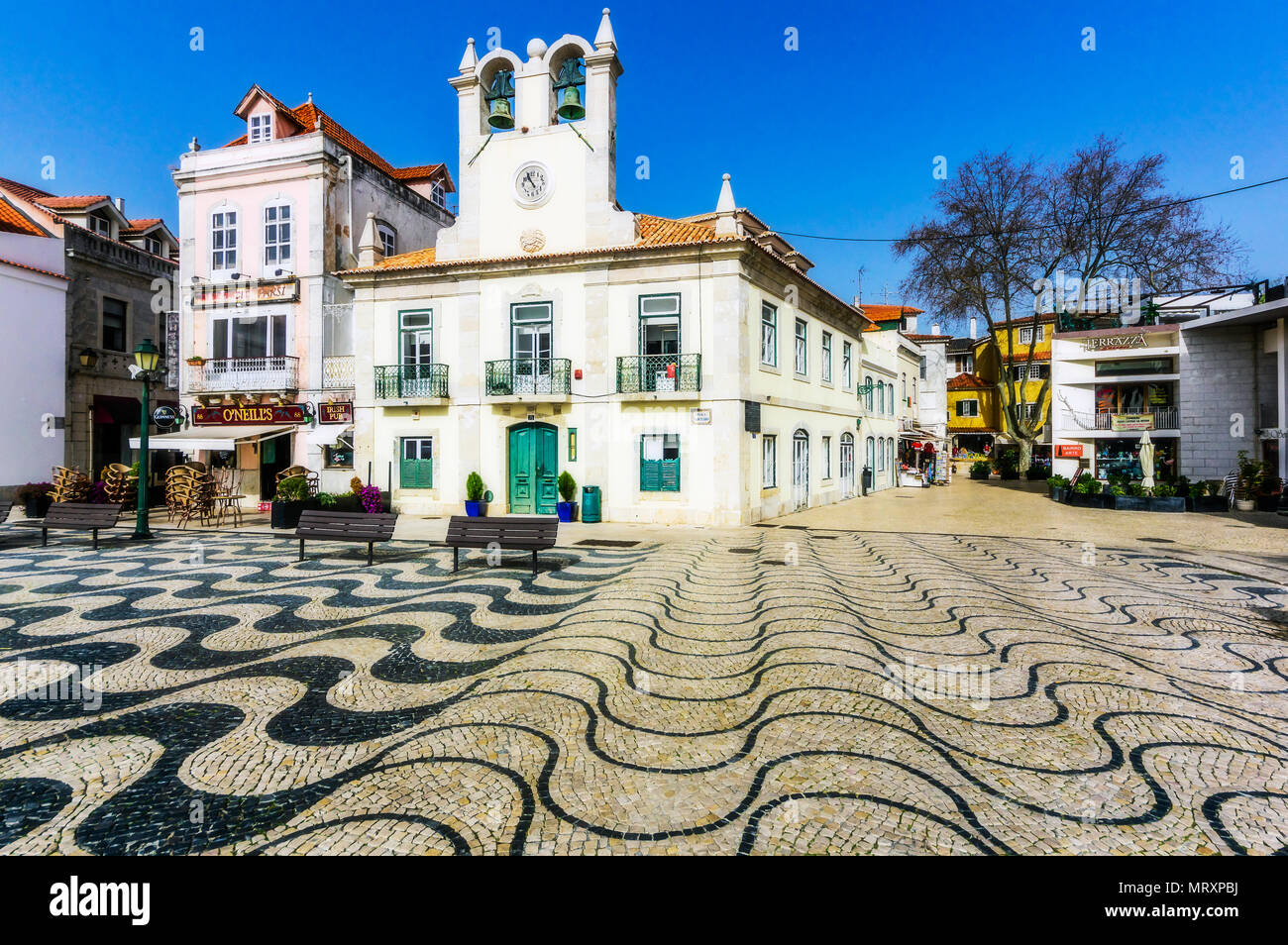 Historic Town Hall Square Cascais Portugal Stock Photo
