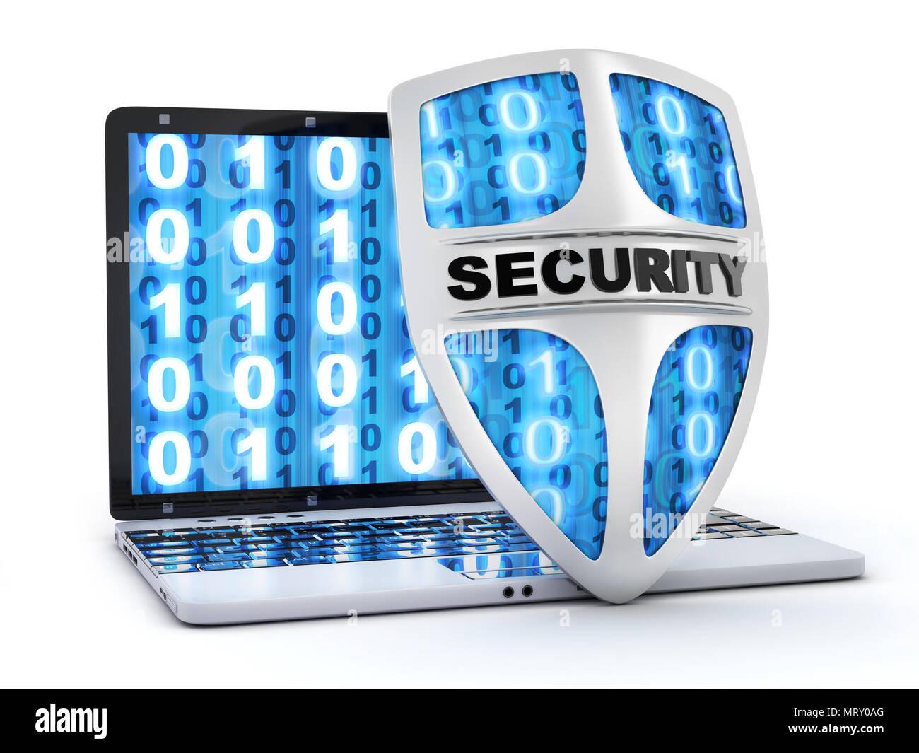 Abstract shield antivirus and laptop  3d illustration Stock Photo