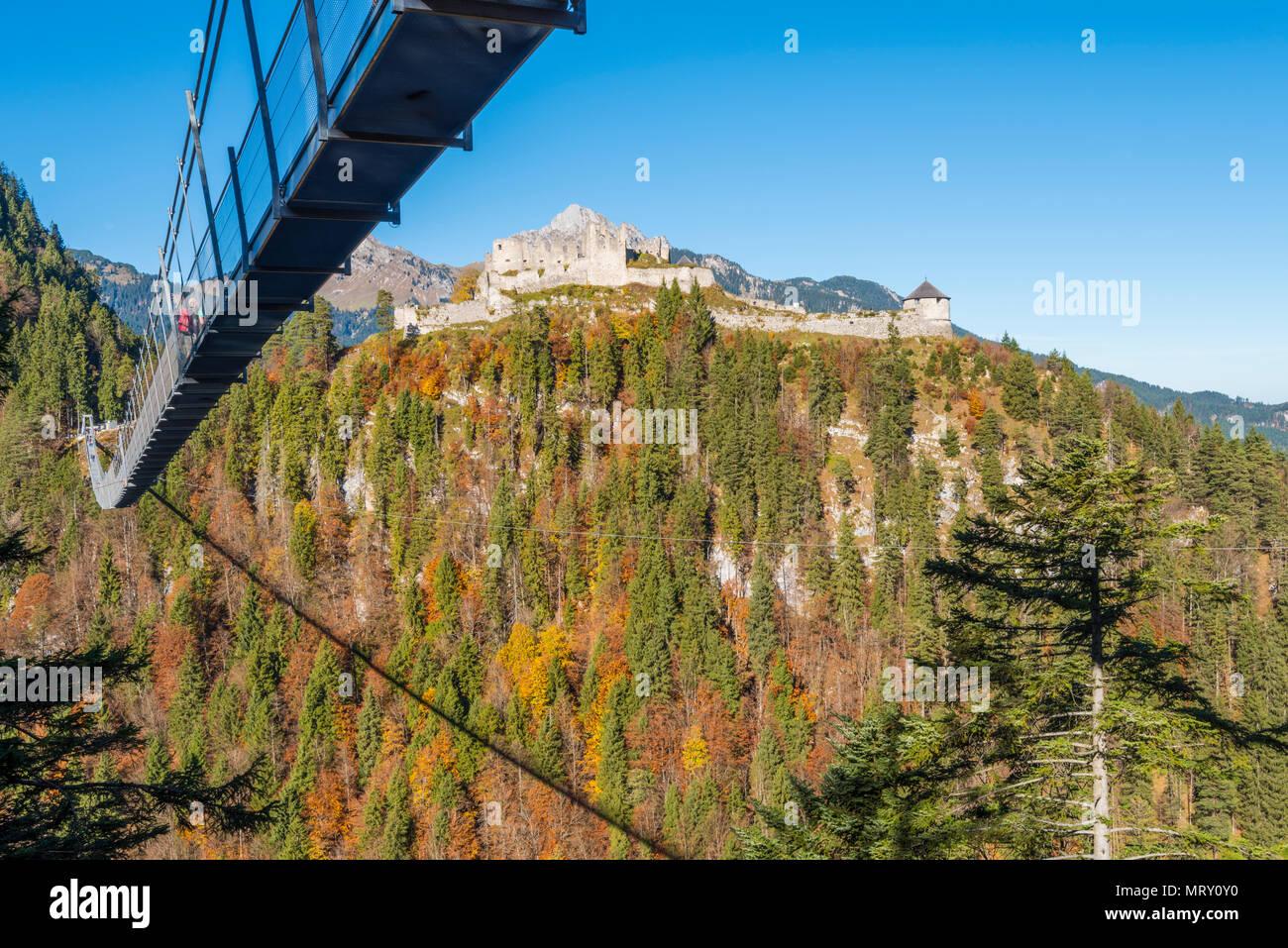 Reutte, Tyrol, Austria, Europe. Ehrenberg Castle and the Highline ...