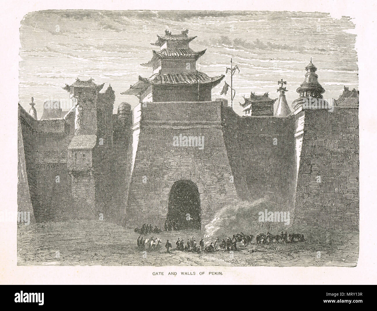 A 19th Century view of the gate and walls of Beijing, China (now dismantled) - Stock Image