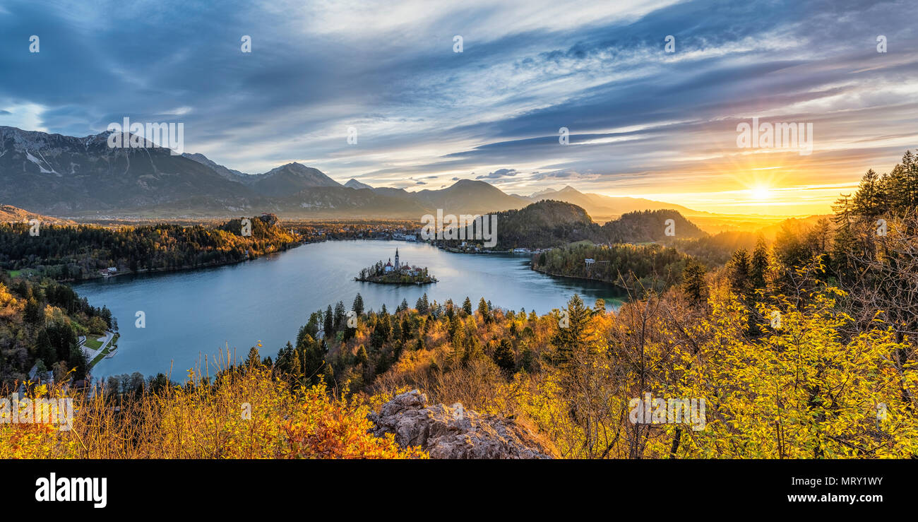 Elevated view of lake Bled at sunrise. Bled, Upper Carniola, Slovenia - Stock Image