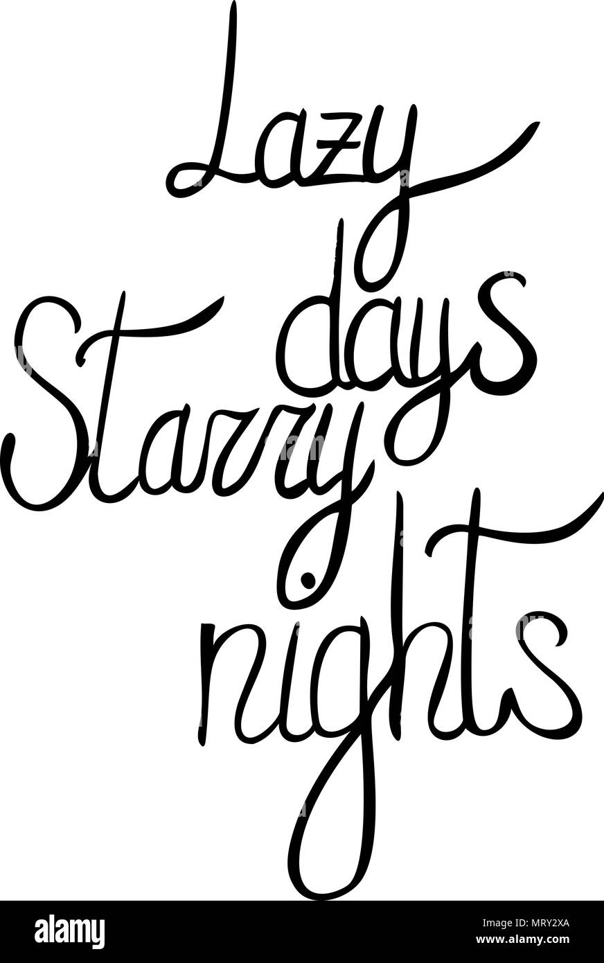 vector hand written summer lettering - lazy days, starry nights - Stock Image
