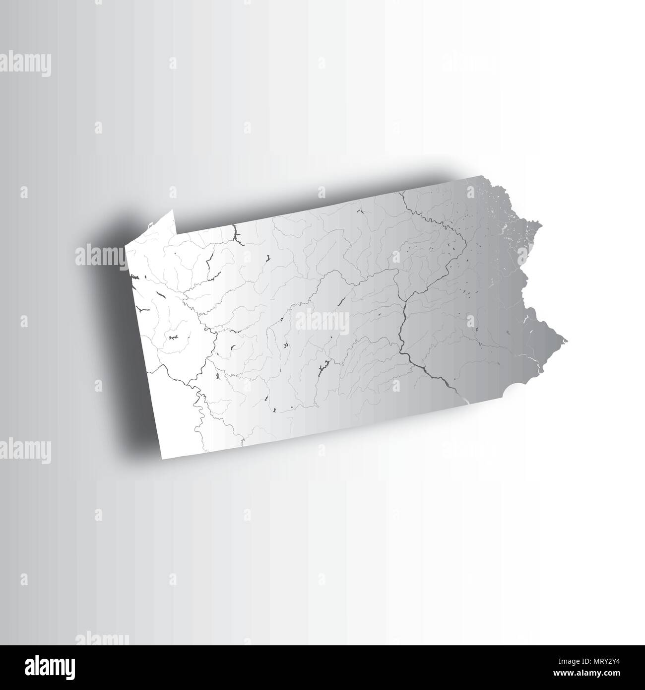 U.S. states - map of Pennsylvania with paper cut effect ...