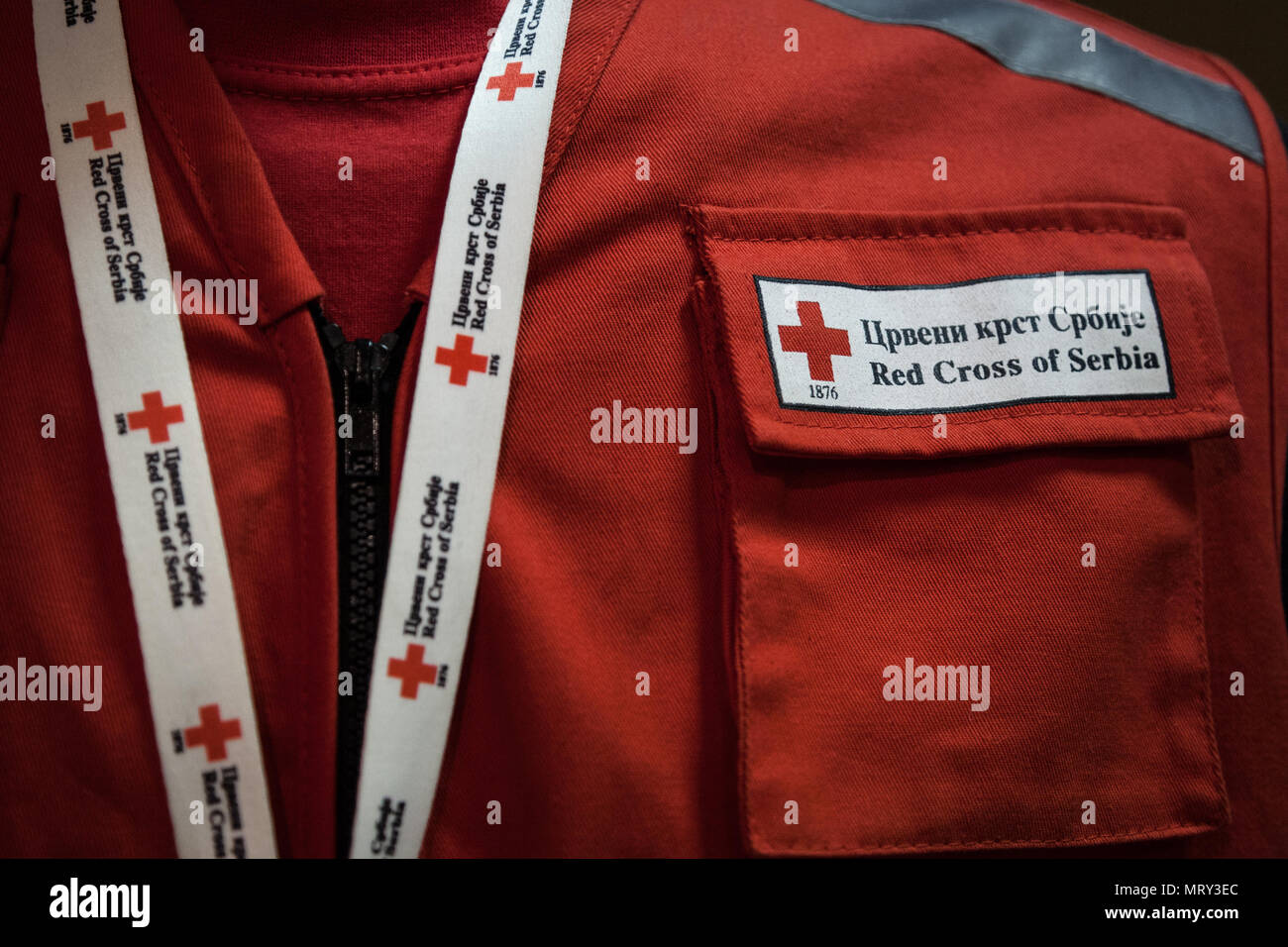 BELGRADE, SERBIA - MAY 19, 2018: Detail of Red Cross of Serbia uniform (Crveni Krst Srbije) with its distinctive logo. It is a humanitarian organisati Stock Photo