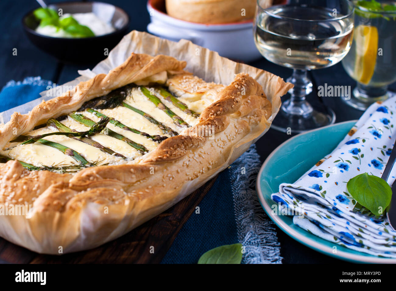 Open Pie With Asparagus And Cheese Vegetarian Dinner