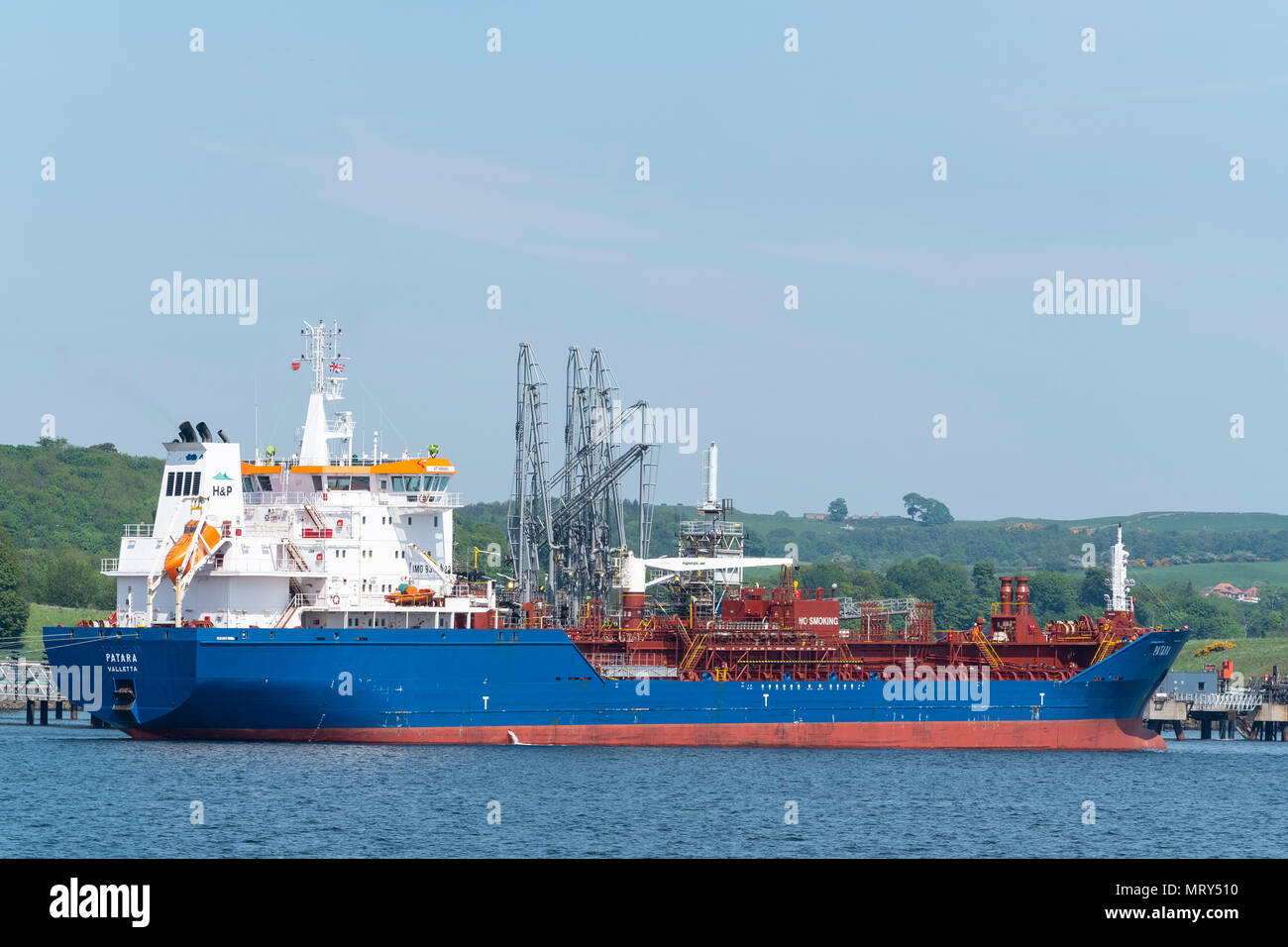 LPG tanker berthed at Braefoot Terminal in Fife, Scotland. Terminal is used for export of  liquefied petroleum gas, - Stock Image