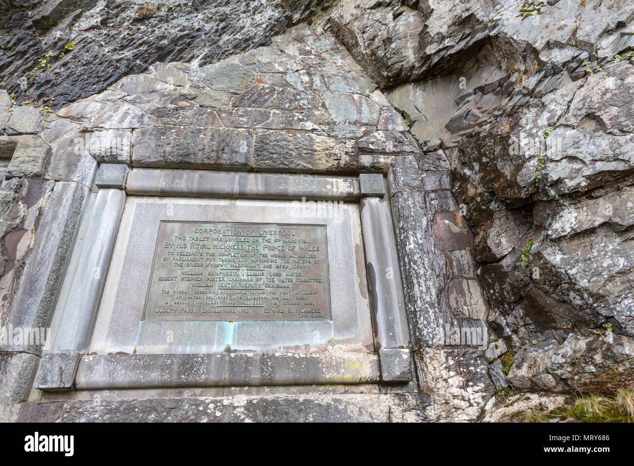 Iron tablet to commemorate the completion of the dam in Lake Vyrnwy, reservoir in Powys, Wales, UK - Stock Image