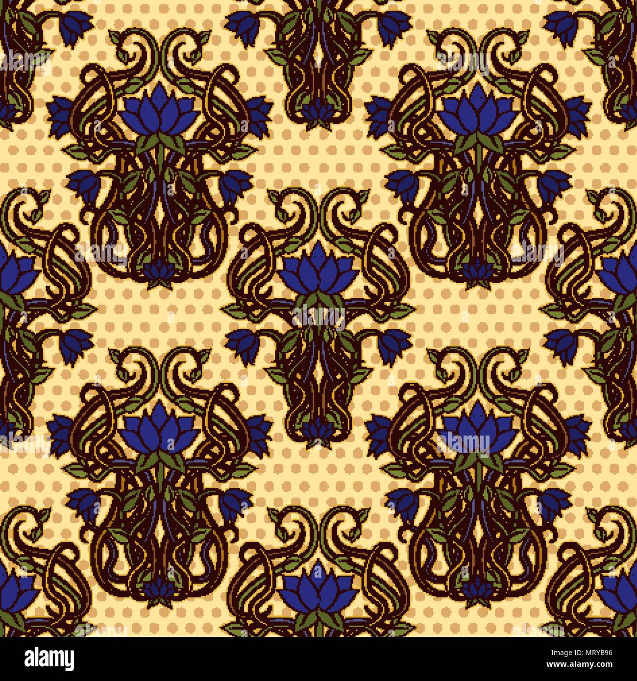 Seamless floral wallpaper in art nouveau style, vector illustration ...