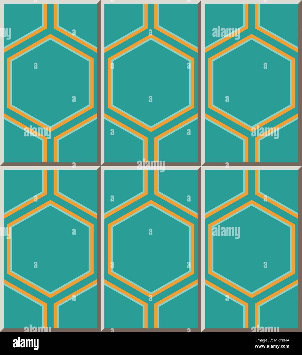 Ceramic tile pattern hexagon polygon geometry cross frame, oriental ...
