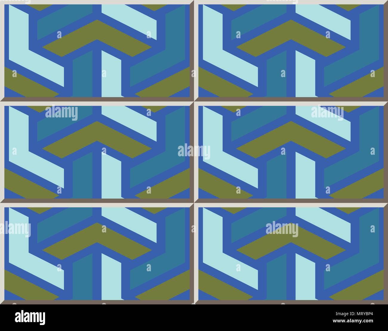 Ceramic tile pattern polygon 3D triangle cross, oriental interior ...