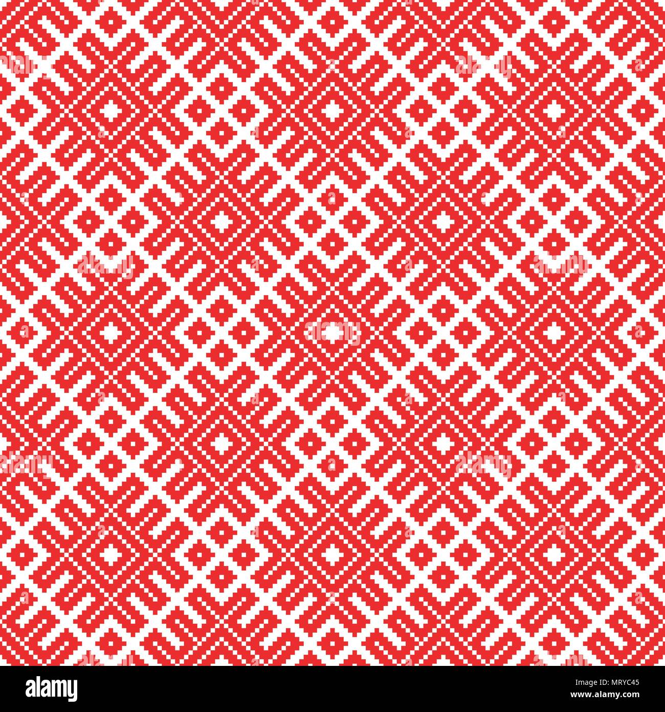 Seamless traditional Russian and slavic ornament made by squares . - Stock Image
