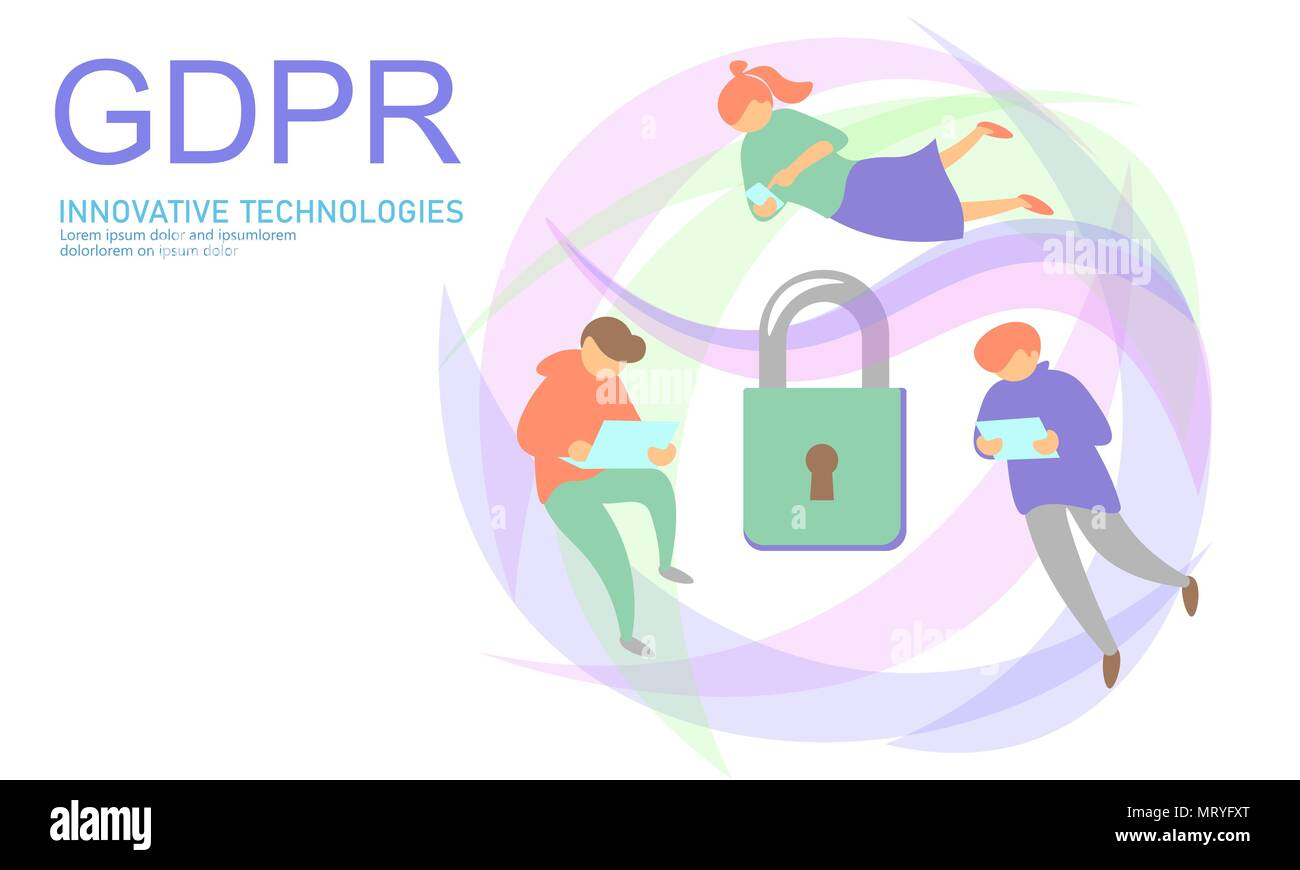 Privacy data protection law GDPR. Data regulation sensitive information safety shield European Union. Right to be forgotten removing flat cartoon. Global business ePrivacy vector illustration - Stock Image