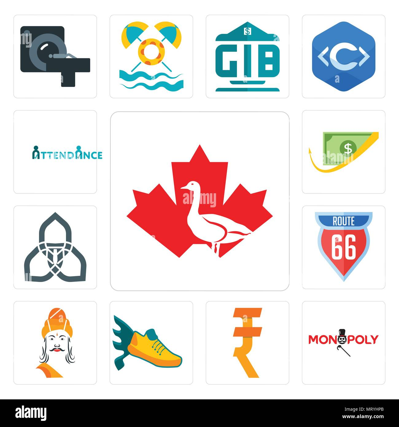 set of 13 simple editable icons such as canada goose monopoly