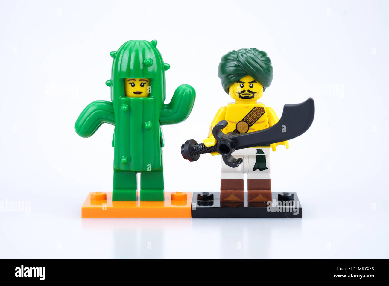 chiang mai, THAILAND - MAY 27, 2018: Lego mini figure toy, a privately held company based in Billund, Denmark. - Stock Image