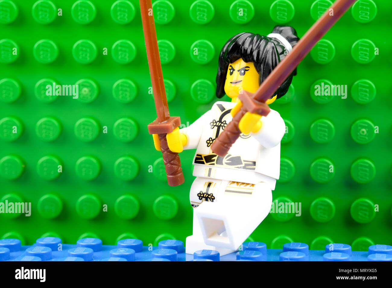 chiang mai, THAILAND - MAY 27, 2018: Lego mini figure, a privately held company based in Billund, Denmark. - Stock Image