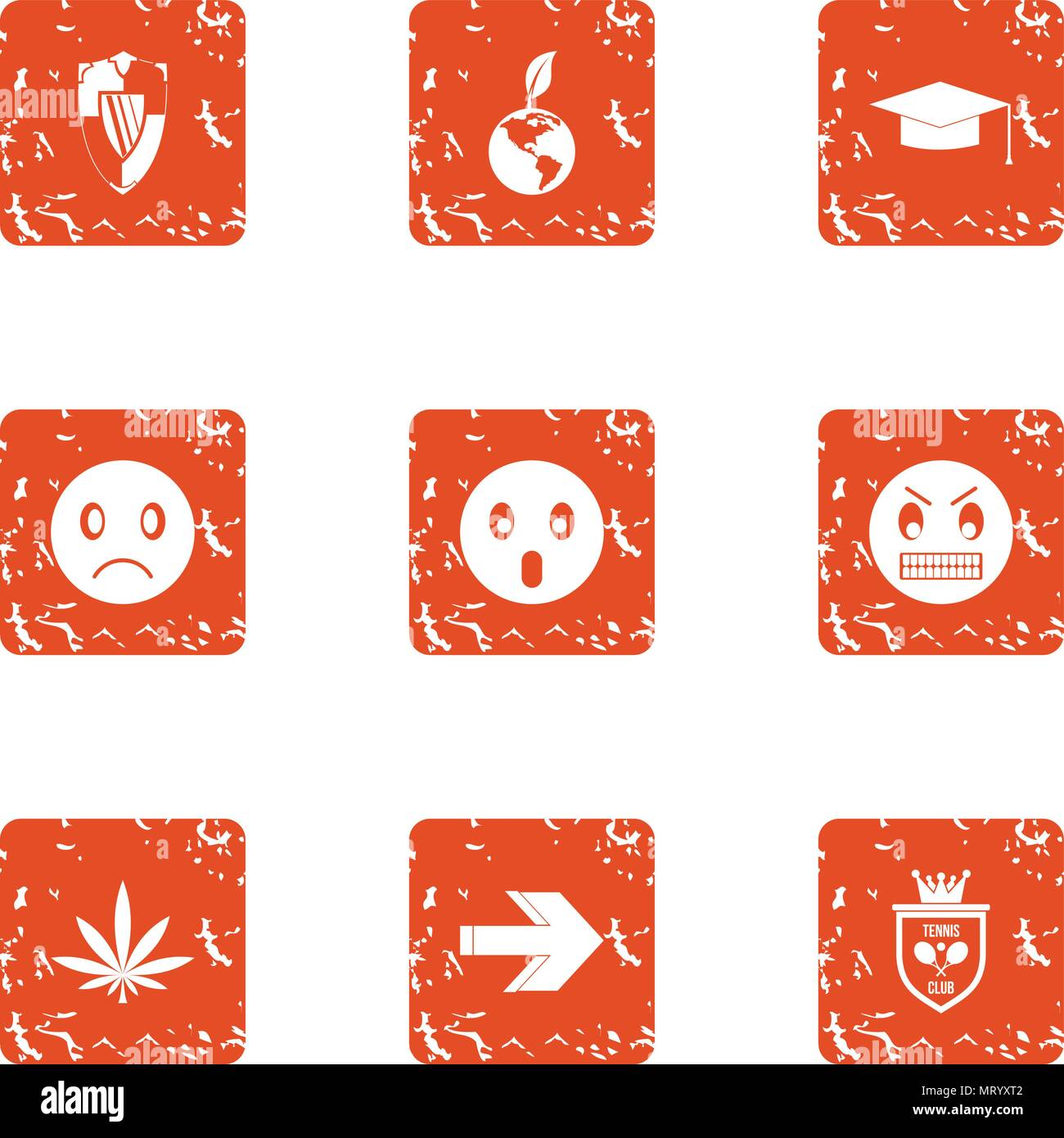 Defensive anger icons set, grunge style - Stock Image