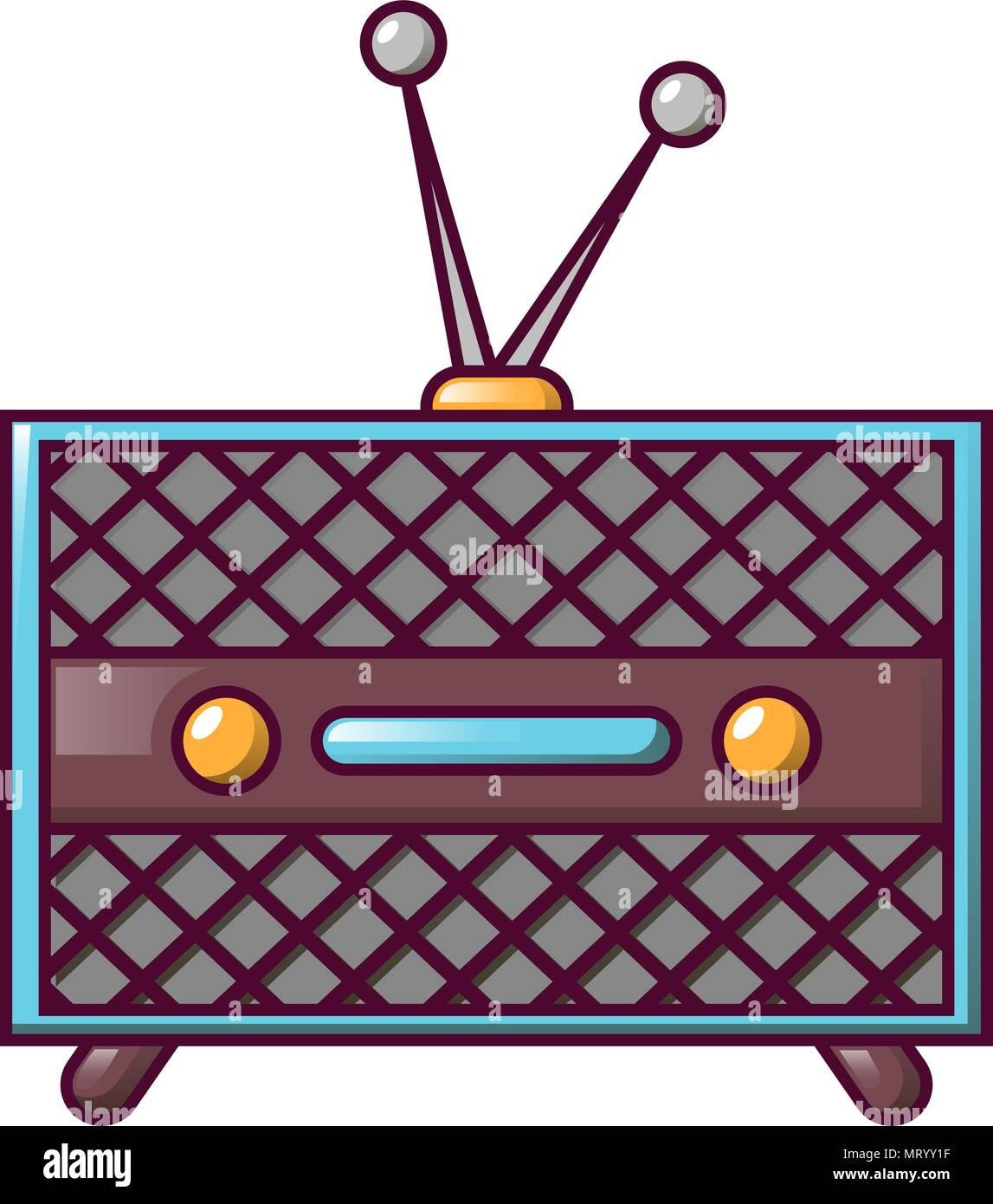 Vintage retro radio icon, cartoon style - Stock Image
