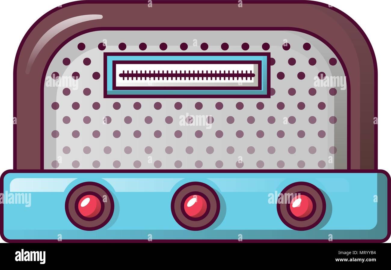 Antique radio icon, cartoon style - Stock Vector