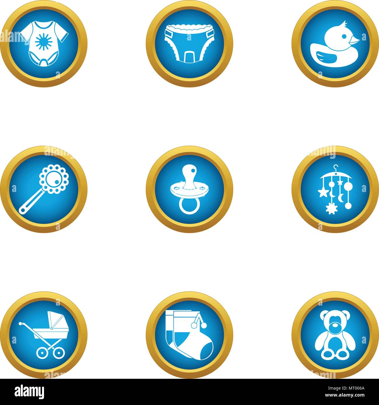 Children apparel icons set, flat style - Stock Image