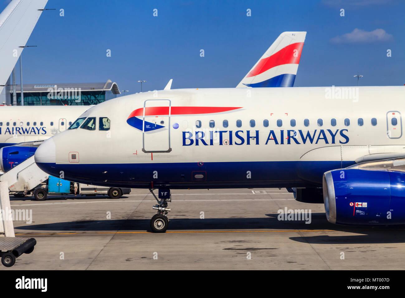 British Airways Planes At Heathrow Airport, London, UK - Stock Image