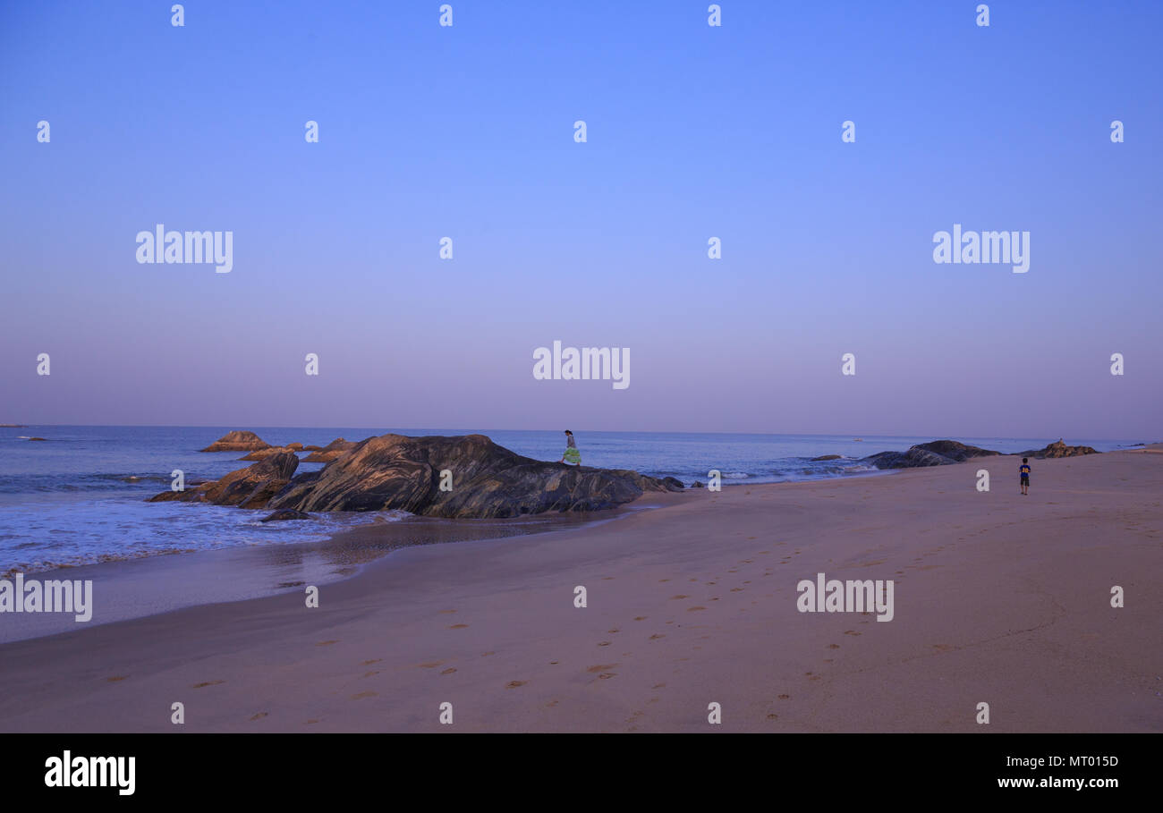 Quiet Sea Beach at Maravanthe near Turtle Bay resort (Karnataka, India) - Stock Image