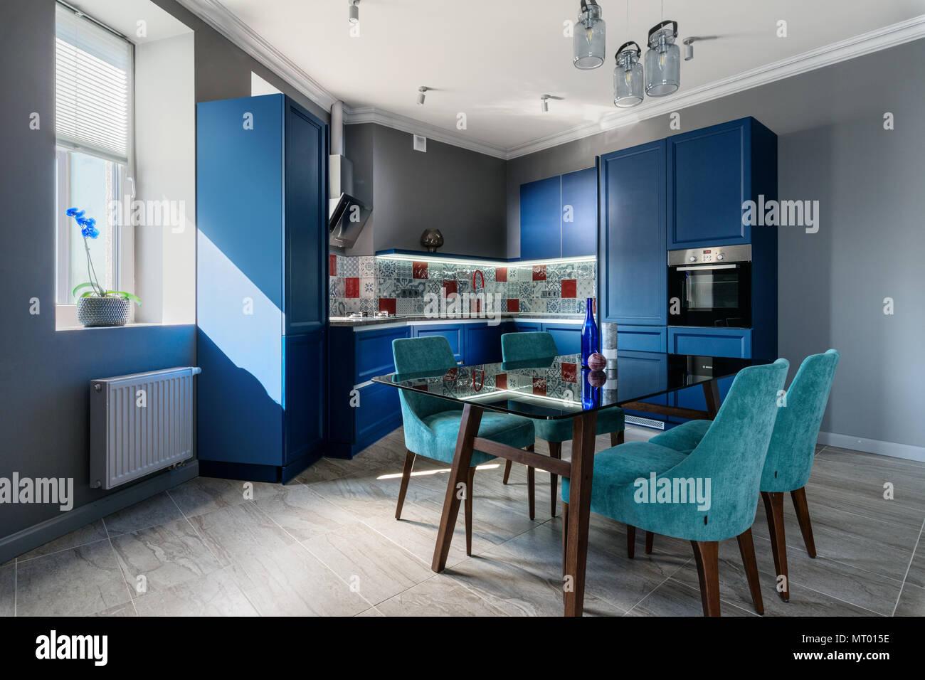 Blue Modern Kitchen Interior Design Stock Photo 186856362 Alamy