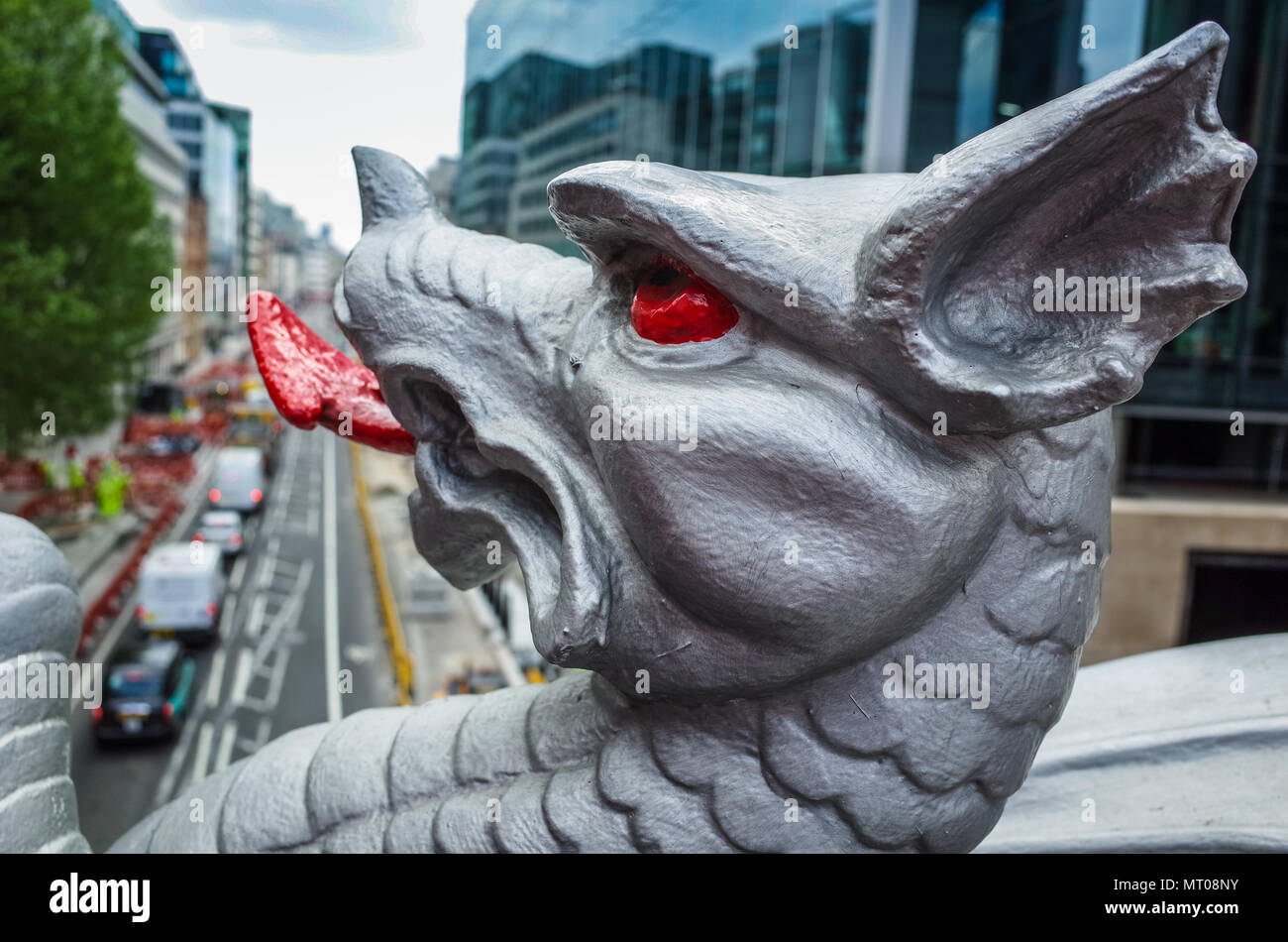 London Dragon - City of London (Square Mile) Boundary Marker Dragon on Holborn Viaduct - Stock Image