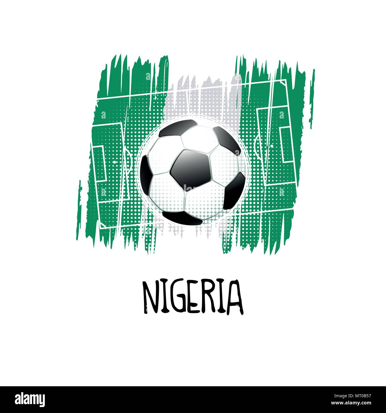 Hand written word 'Nigeria' with soccer ball, soccer field and abstract colors of the Nigerian flag. Vector illustration. - Stock Vector