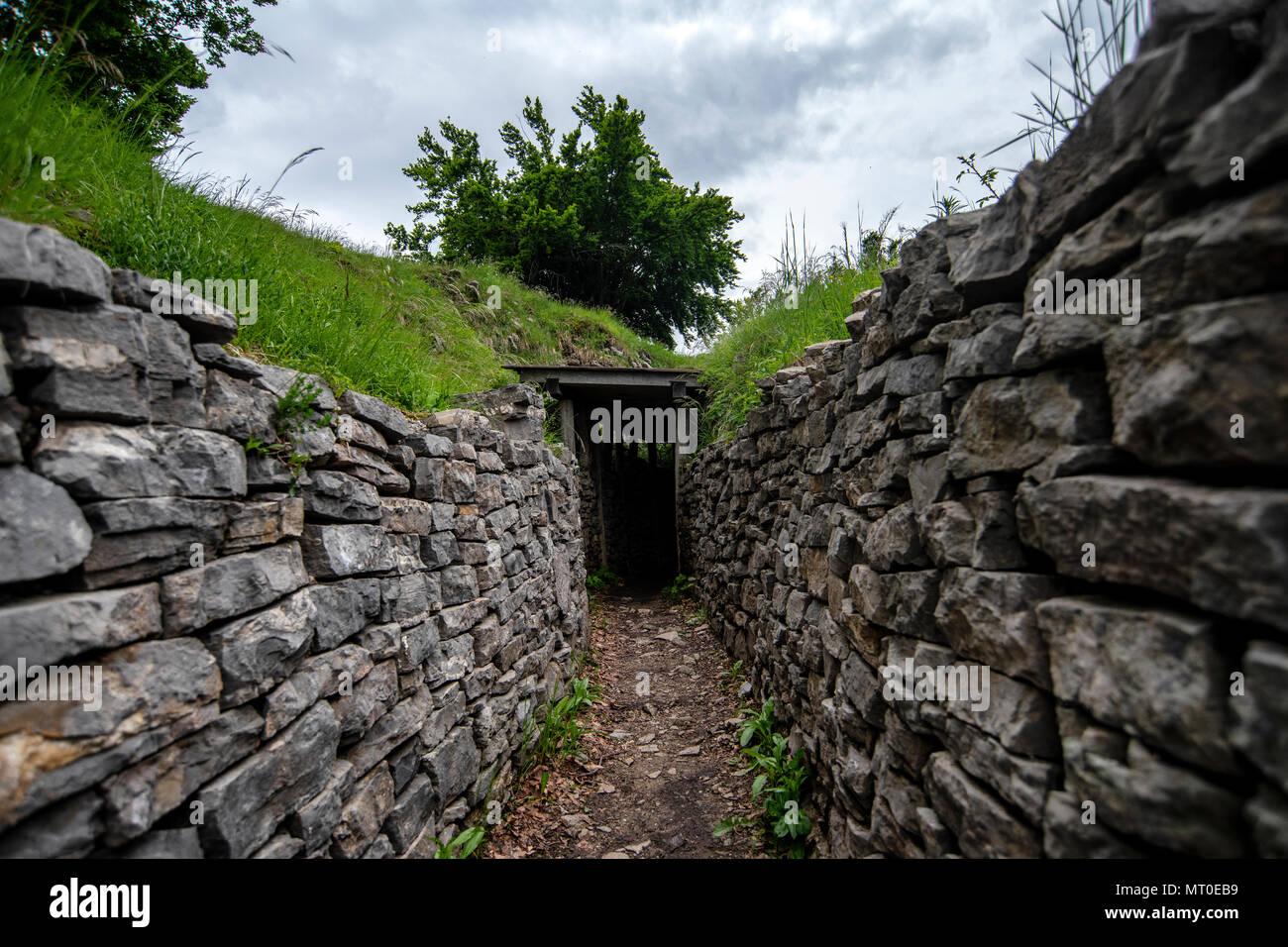 First World War Italian army fortifications and trenches between Na Gradu and Tinški vrh on the Kolovrat ridge on the Italian-Slovenian border. - Stock Image