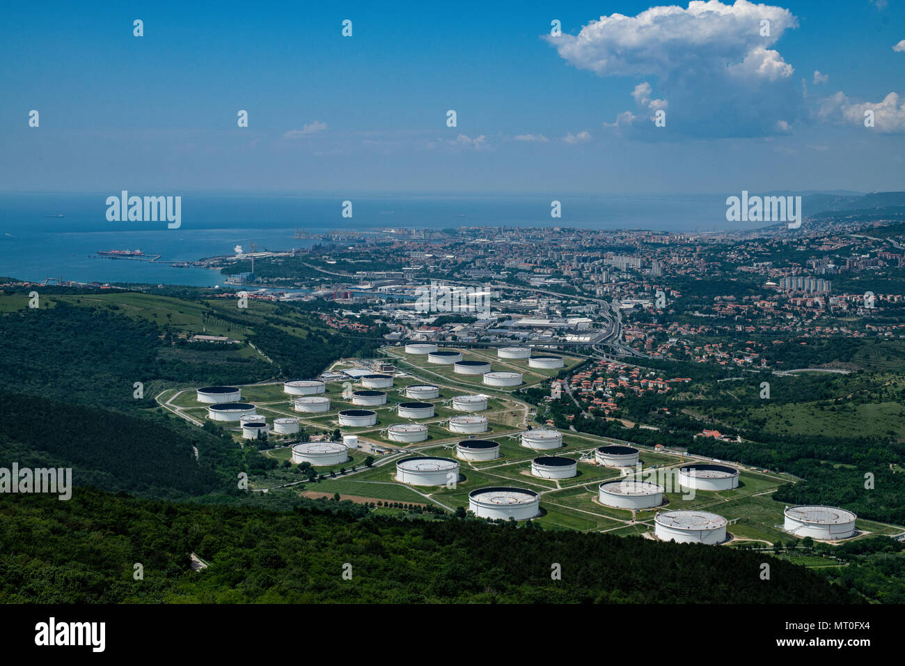 Oil tanks Trieste, Italy, part of the Trieste crude oil terminal and Transalpine Pipeline. - Stock Image
