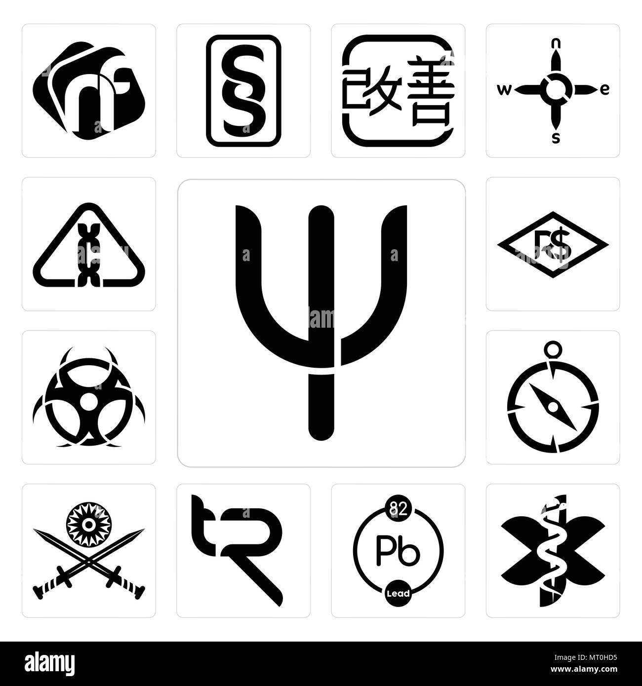Set Of 13 simple editable icons such as psi, paramedic, chemical, tr, indian army, compas, contagion, brazilian real, carcinogen can be used for mobil - Stock Vector