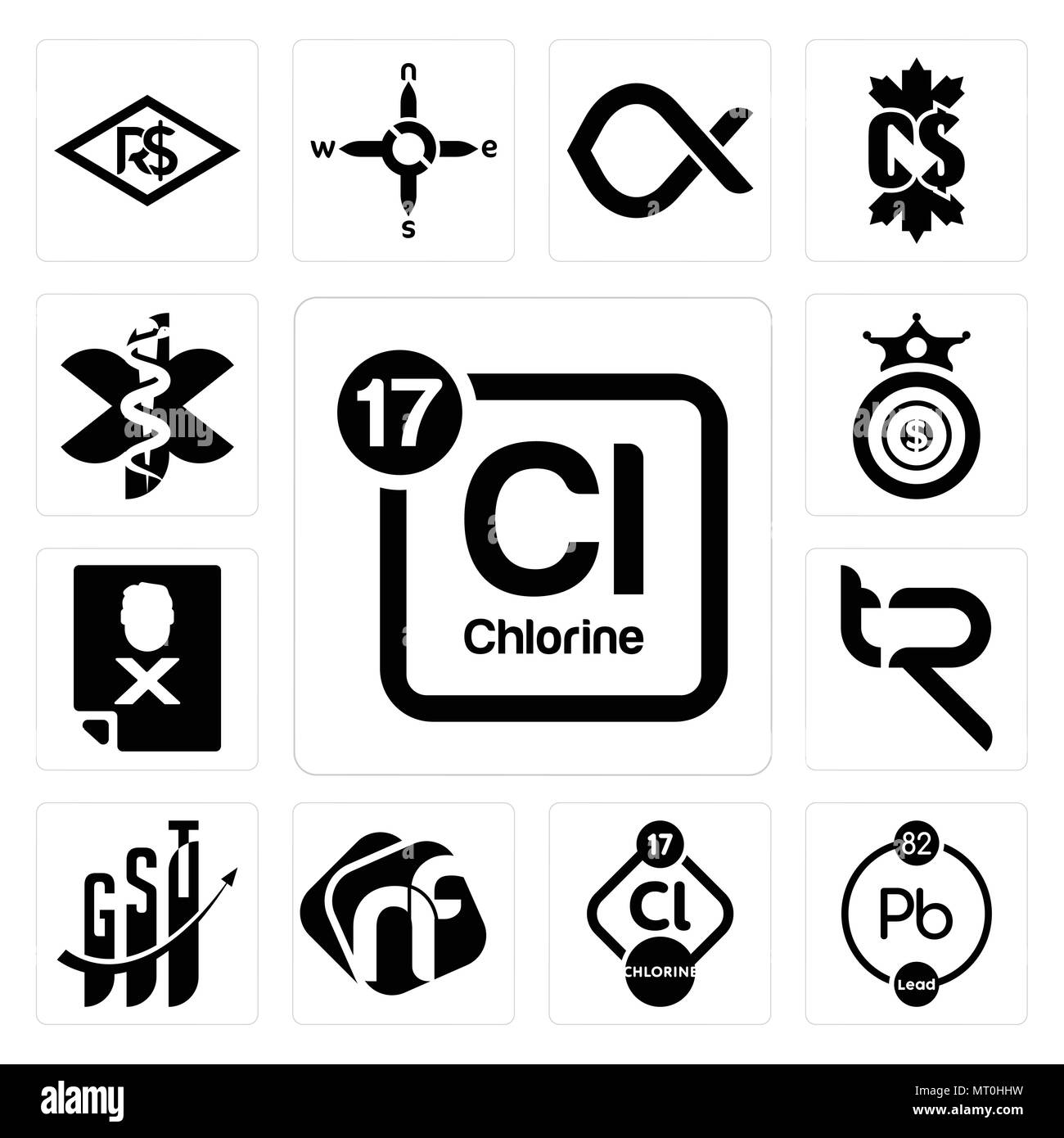 Set Of 13 Simple Editable Icons Such As Periodic Table Chlorine