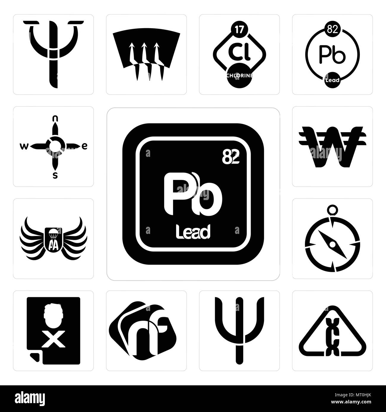 Set Of 13 simple editable icons such as pb chemical, carcinogen, psi, nf, blacklisted, compas, army airborne, south korean currency, n s e w can be us - Stock Vector
