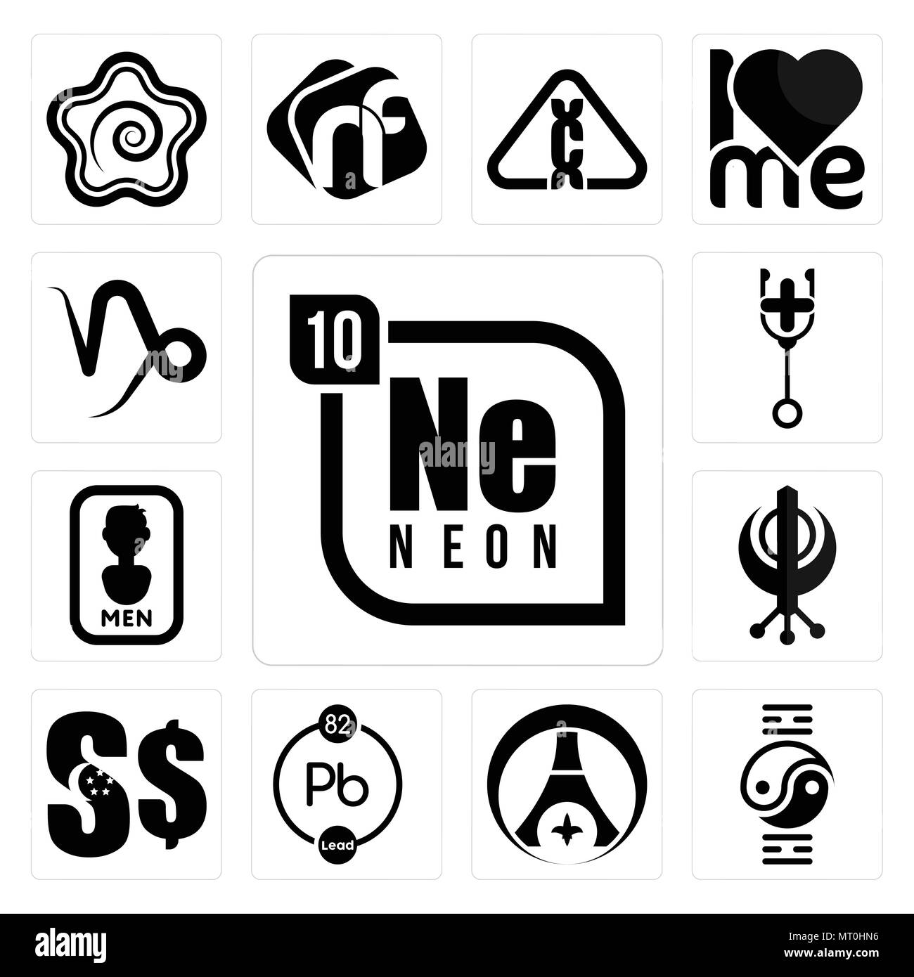 Set Of 13 Simple Editable Icons Such As Neon Qigong Psg Chemical