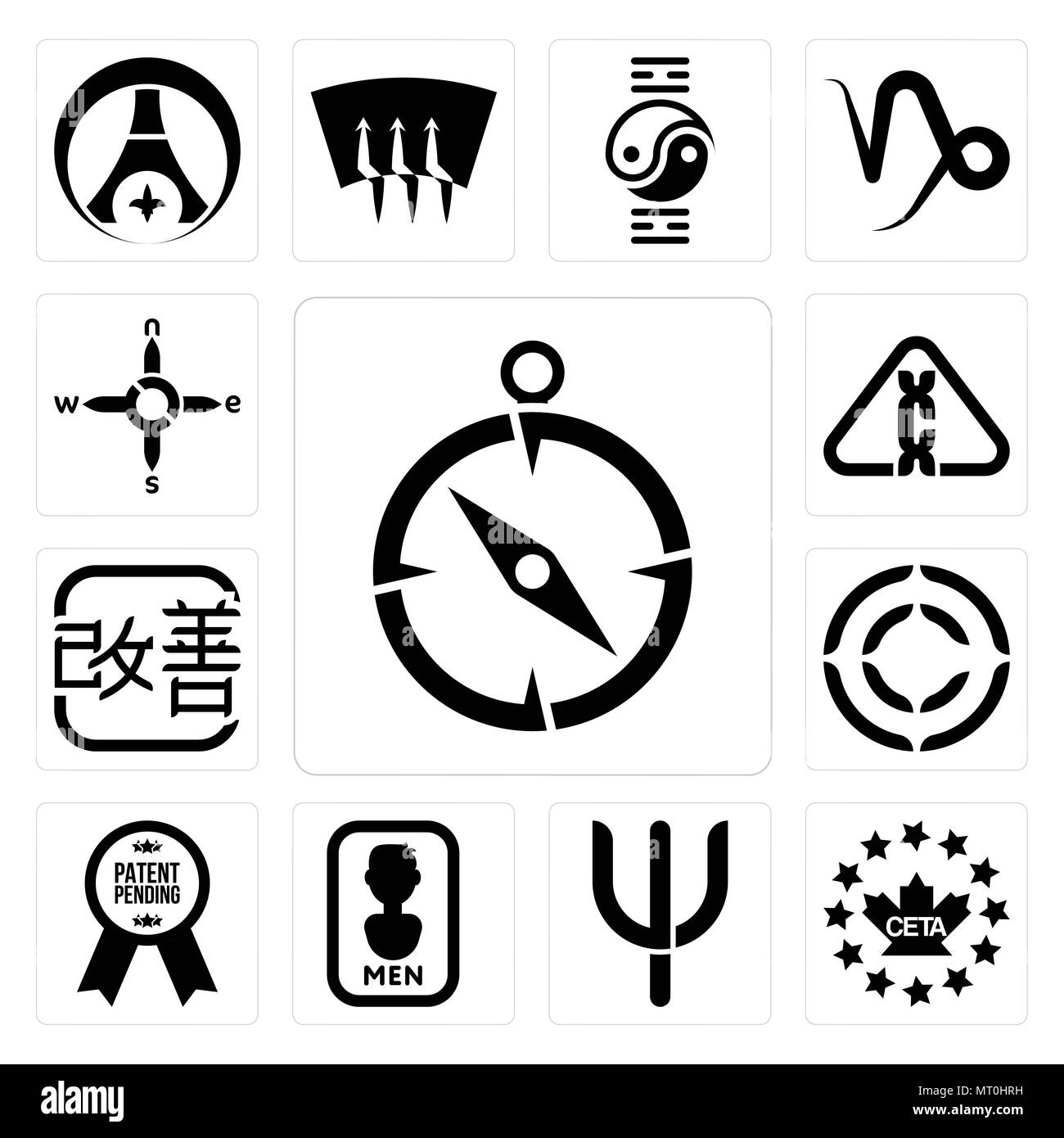 Set Of 13 simple editable icons such as compas, ceta, psi, mens bathroom, patent pending, copyright, kaizen, carcinogen, n s e w can be used for mobil - Stock Vector