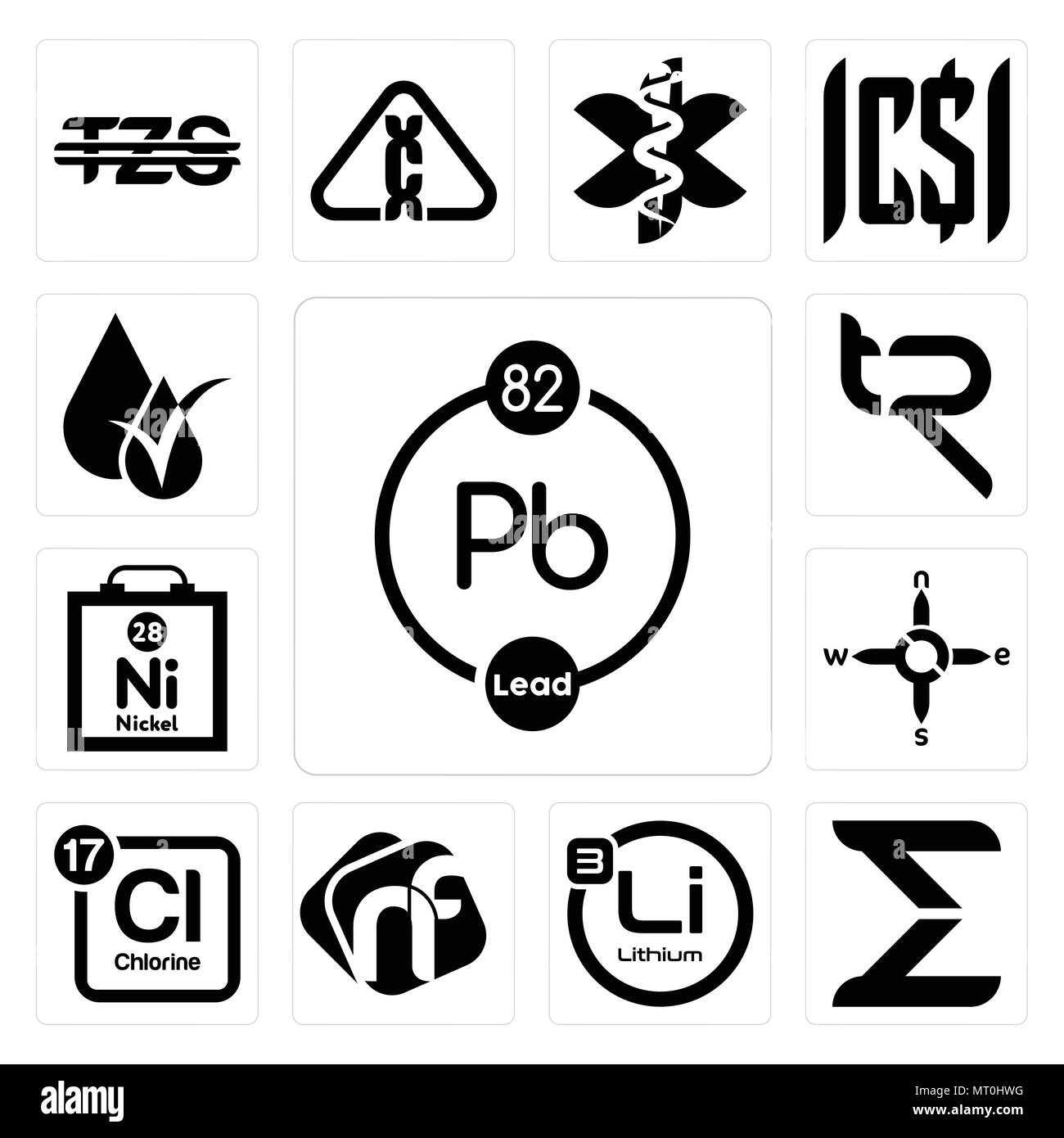 Set Of 13 Simple Editable Icons Such As Chemical Sigma Lithium Nf