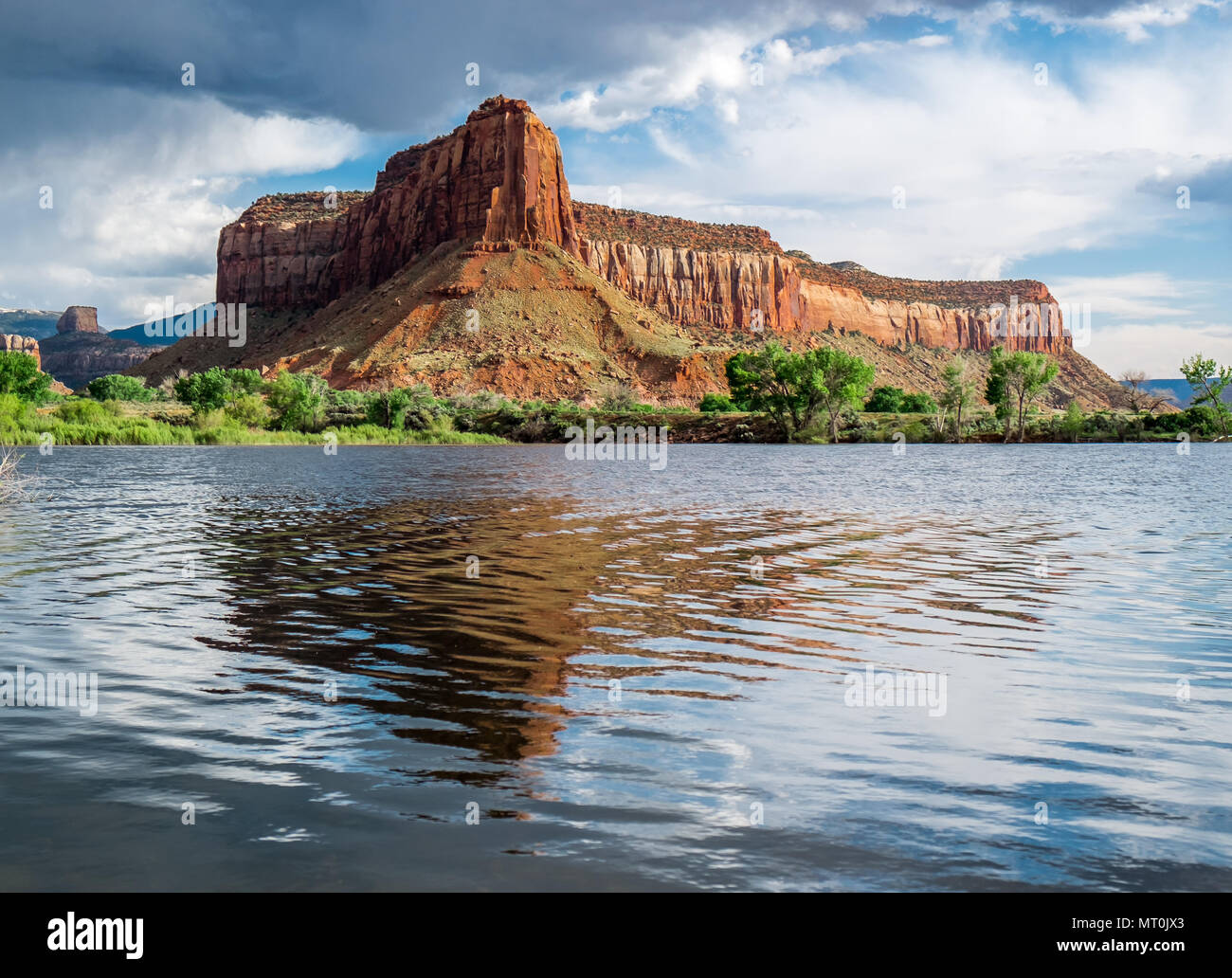 Dugout Reservoir outside Canyonland National Park is part of the 5,200 acre Doutout Ranch  owned by The Nature Conservancy. - Stock Image