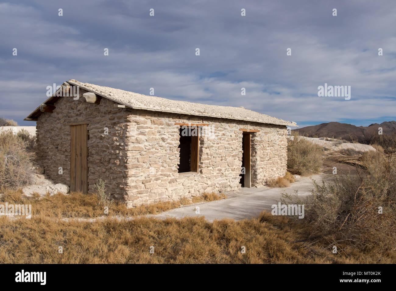 Jack's Stone Cabin in Ash Meadows National Wildlife Refuge, Nye County, Nevada, USA. Stock Photo