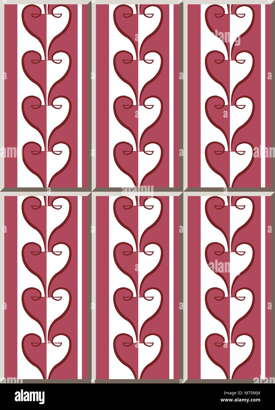 Ceramic Tile Pattern Red Love Spiral Curve Cross Heart Line Oriental Interior Floor Wall Ornament Elegant Stylish Design Stock Vector Image Art Alamy