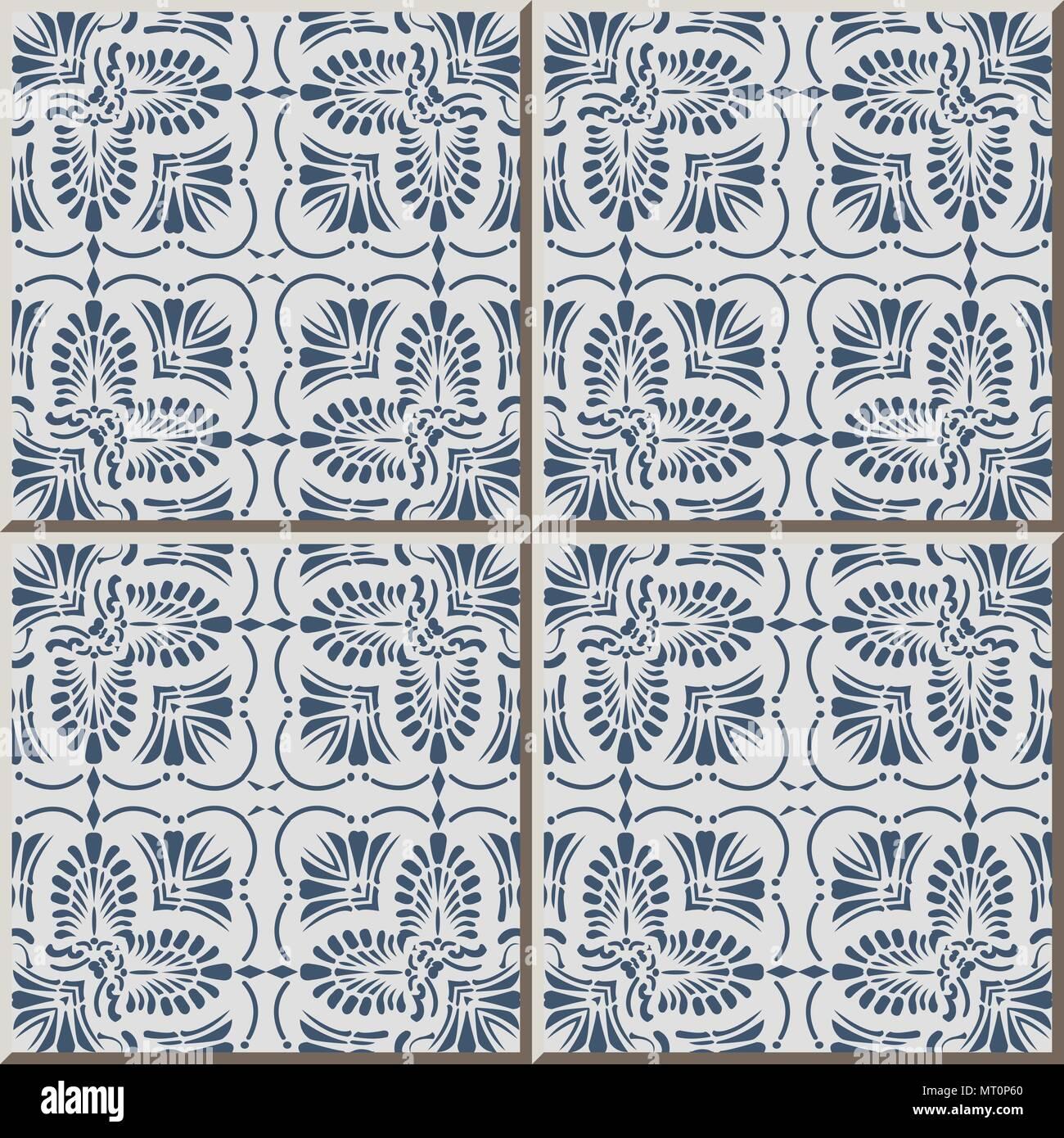 Ceramic tile pattern blue curve square cross fan shape leaf dot line ...