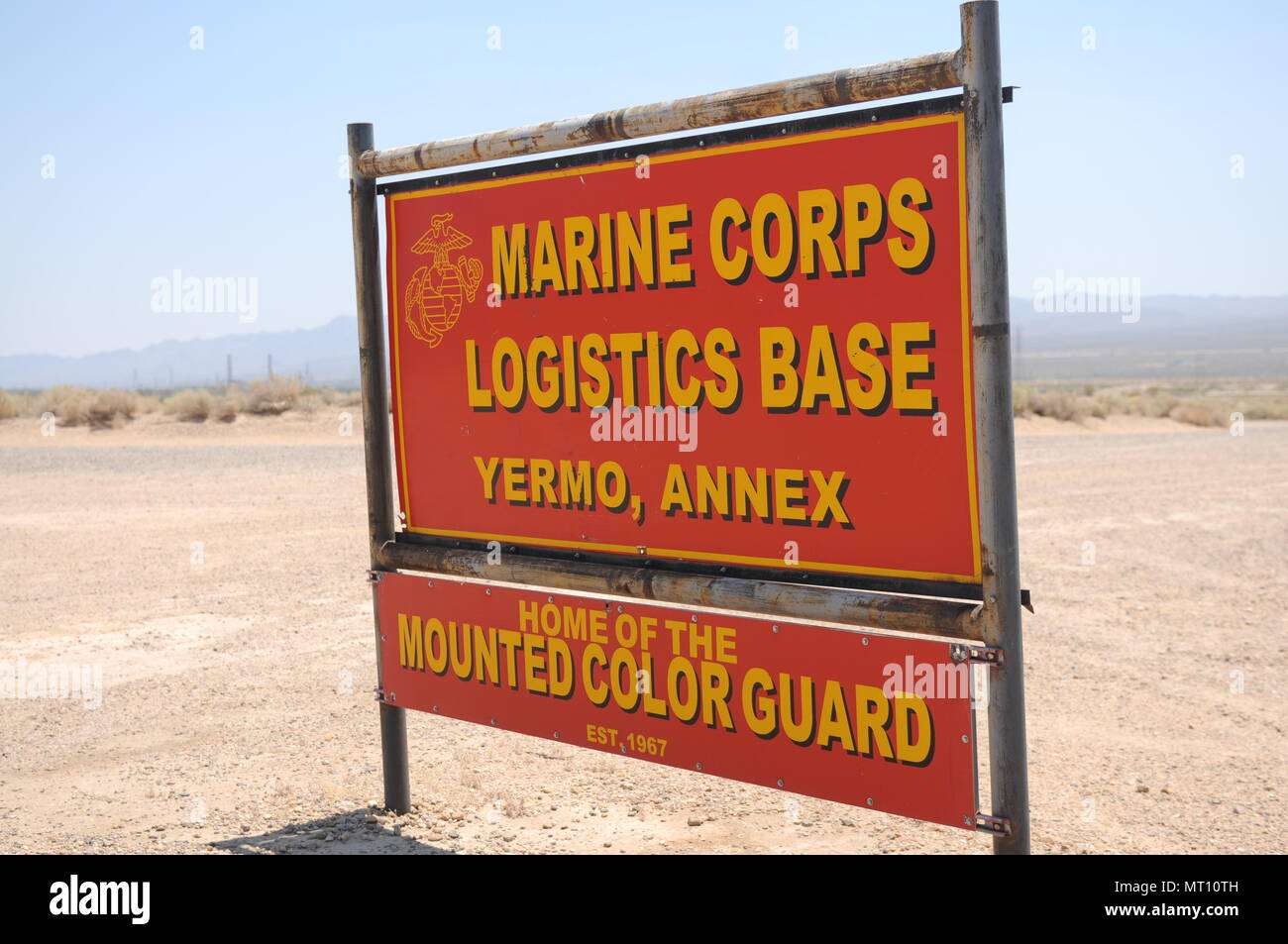Entrance into Marine Corps Logistics Base where sections of MCS arrived by rail for pickup and transport by the 250th TC. - Stock Image