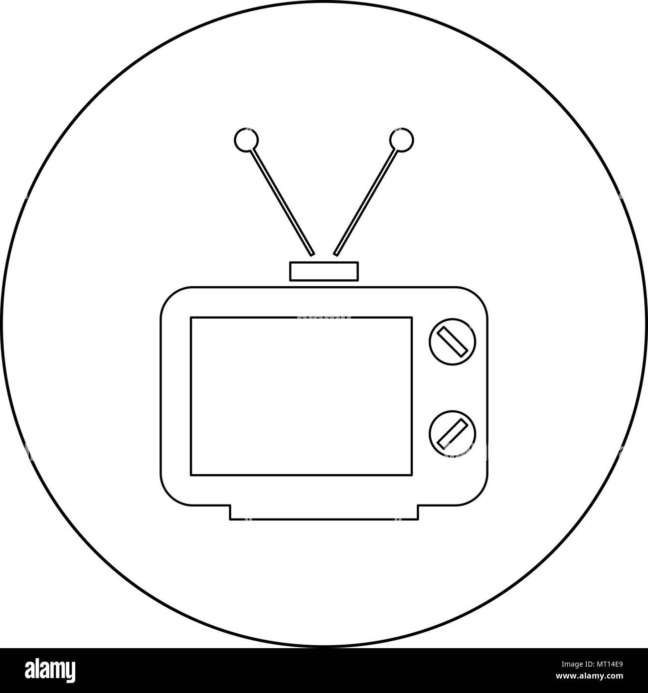 Old TV icon outline black color in circle vector illustration - Stock Image