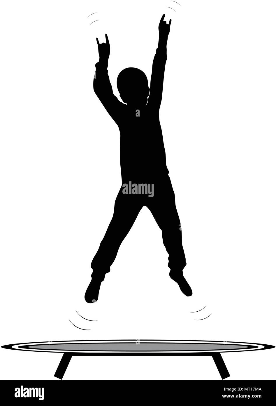 Boy jumping the trampoline - Stock Vector