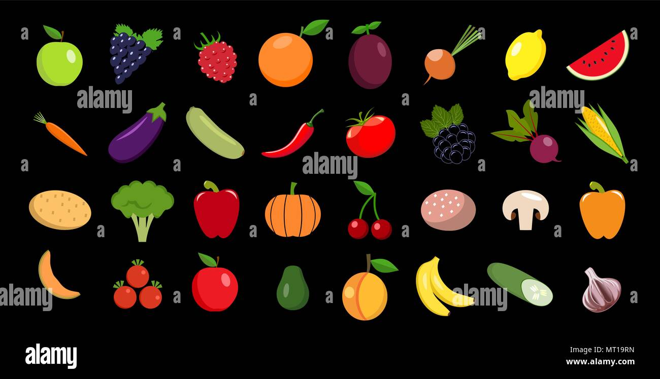 Set of fruits and vegetables Vector icon - Stock Vector